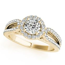 0.90 CTW Certified VS/SI Diamond Solitaire Halo Ring 18K Yellow Gold - REF-134V5Y - 26424