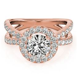 1.51 CTW Certified VS/SI Diamond Solitaire Halo Ring 18K Rose Gold - REF-176F5N - 26764