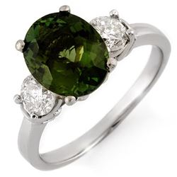 3.25 CTW Green Tourmaline & Diamond Ring 18K White Gold - REF-132W2H - 10093