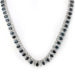 26 CTW Blue Sapphire & Diamond Necklace 18K White Gold - REF-857F8N - 11557