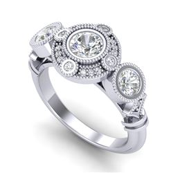 1.51 CTW VS/SI Diamond Solitaire Art Deco 3 Stone Ring 18K White Gold - REF-300F2N - 36986