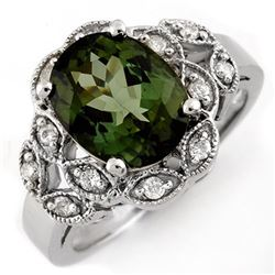 3.75 CTW Green Tourmaline & Diamond Ring 10K White Gold - REF-66F9N - 10138