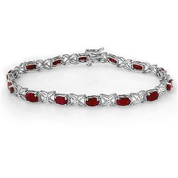 8.55 CTW Ruby & Diamond Bracelet 14K White Gold - REF-78F2N - 13949