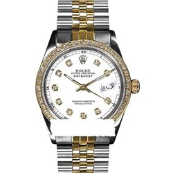 Rolex Men's Two Tone 14K Gold/SS, QuickSet, Diamond Dial & Diamond Bezel - REF-557M6F