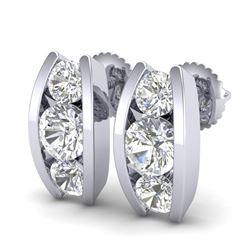 2.18 CTW VS/SI Diamond Solitaire Art Deco Stud Earrings 18K White Gold - REF-300N2A - 37010