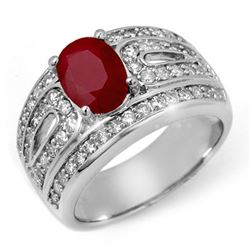 2.79 CTW Ruby & Diamond Ring 18K White Gold - REF-152H7M - 11828