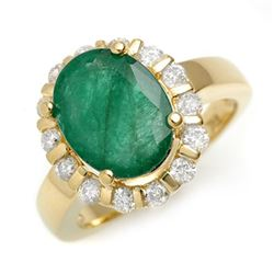 4.65 CTW Emerald & Diamond Ring 10K Yellow Gold - REF-68H2M - 11001