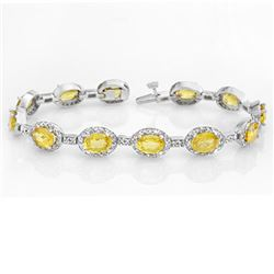 19.6 CTW Yellow Sapphire & Diamond Bracelet 14K White Gold - REF-354N5A - 10226
