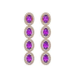 5.56 CTW Amethyst & Diamond Earrings Rose Gold 10K Rose Gold - REF-103X3R - 40542