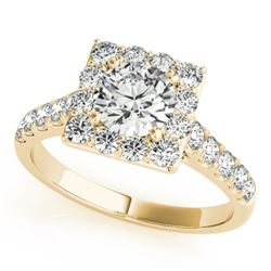2 CTW Certified VS/SI Diamond Solitaire Halo Ring 18K Yellow Gold - REF-430M2F - 26834