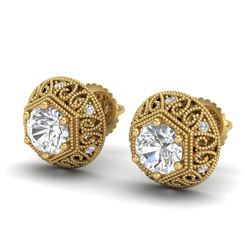 1.31 CTW VS/SI Diamond Solitaire Art Deco Stud Earrings 18K Yellow Gold - REF-236H4M - 36922