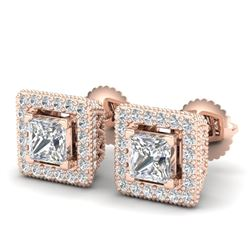 2.25 CTW Princess VS/SI Diamond Micro Pave Stud Earrings 18K Rose Gold - REF-272R7K - 37170