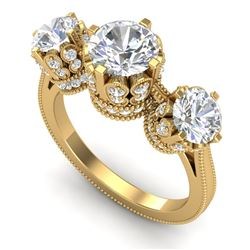 3.06 CTW VS/SI Diamond Solitaire Art Deco 3 Stone Ring 18K Yellow Gold - REF-576K4W - 36850