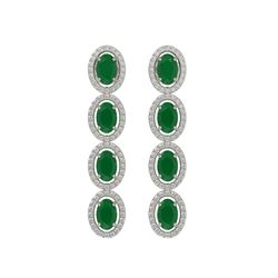 6.47 CTW Emerald & Diamond Earrings White Gold 10K White Gold - REF-114N2A - 40502