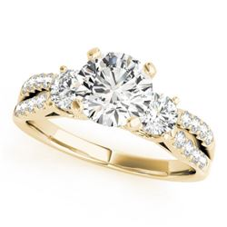 1.25 CTW Certified VS/SI Diamond 3 Stone Ring 18K Yellow Gold - REF-208R5K - 28025