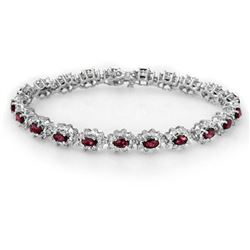 10.80 CTW Ruby & Diamond Bracelet 18K White Gold - REF-372K9W - 13168
