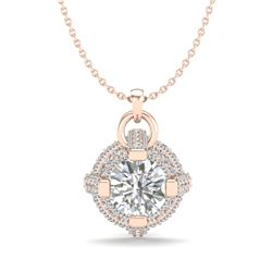 1.57 CTW VS/SI Diamond Micro Pave Stud Necklace 18K Rose Gold - REF-229M3F - 36954