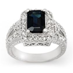 3.0 CTW Blue Sapphire & Diamond Ring 14K White Gold - REF-83F6N - 14388