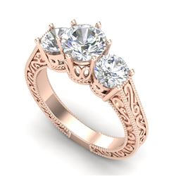 2.01 CTW VS/SI Diamond Solitaire Art Deco 3 Stone Ring 18K Rose Gold - REF-527M3F - 36930