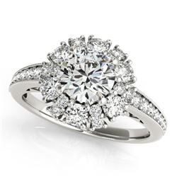 2.16 CTW Certified VS/SI Diamond Solitaire Halo Ring 18K White Gold - REF-437V6Y - 26730