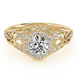 0.90 CTW Certified VS/SI Diamond Solitaire Halo Ring 18K Yellow Gold - REF-145N5A - 26864
