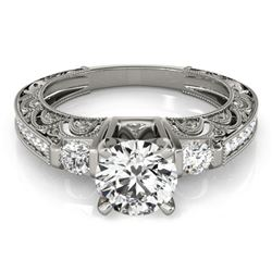 0.91 CTW Certified VS/SI Diamond Solitaire Antique Ring 18K White Gold - REF-134M5F - 27276