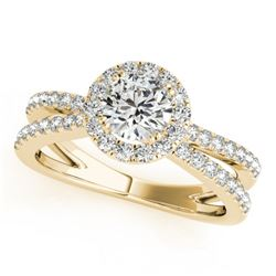 1.36 CTW Certified VS/SI Diamond Solitaire Halo Ring 18K Yellow Gold - REF-230X4R - 26622