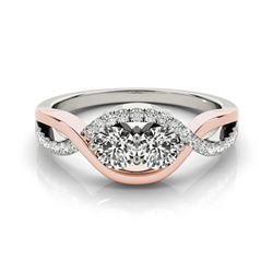 0.88 CTW Certified VS/SI Diamond 2 Stone Ring 18K White & Rose Gold - REF-140N7A - 28181