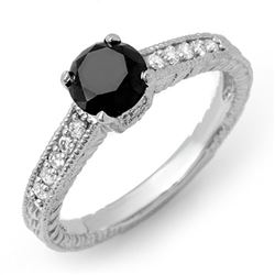 1.30 CTW VS Certified Black & White Diamond Solitaire Ring 14K White Gold - REF-57W3H - 14030