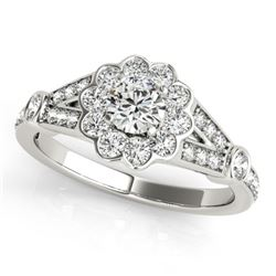 1.40 CTW Certified VS/SI Diamond Solitaire Halo Ring 18K White Gold - REF-222Y4X - 26772