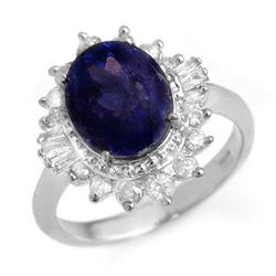 4.85 CTW Blue Sapphire & Diamond Ring 18K White Gold - REF-103X6R - 14301