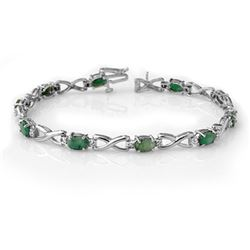 5.85 CTW Emerald & Diamond Bracelet 14K White Gold - REF-98X2R - 14347