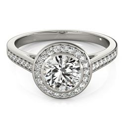 1.30 CTW Certified VS/SI Diamond Solitaire Halo Ring 18K White Gold - REF-385R3K - 26416
