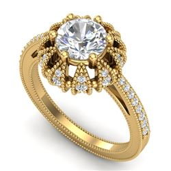 1.65 CTW VS/SI Diamond Solitaire Art Deco Micro Pave Ring 18K Yellow Gold - REF-427N3A - 36994