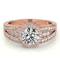 1.50 CTW Certified VS/SI Diamond Solitaire Halo Ring 18K Rose Gold - REF-398F9N - 26794