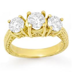2.0 CTW Certified VS/SI Diamond 3 Stone Ring 14K Yellow Gold - REF-323A3V - 13395