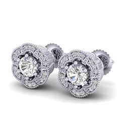 1.51 CTW VS/SI Diamond Solitaire Art Deco Stud Earrings 18K White Gold - REF-263W6H - 37106