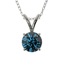 0.55 CTW Certified Intense Blue SI Diamond Solitaire Necklace 10K White Gold - REF-51F2N - 36730