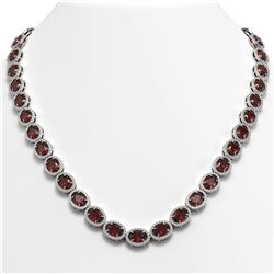 50.08 CTW Garnet & Diamond Necklace White Gold 10K White Gold - REF-555K6W - 40598