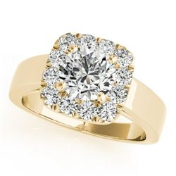 1.30 CTW Certified VS/SI Diamond Solitaire Halo Ring 18K Yellow Gold - REF-258W7H - 26897