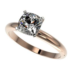 1.25 CTW Certified VS/SI Quality Cushion Cut Diamond Solitaire Ring 10K Rose Gold - REF-372M3F - 329