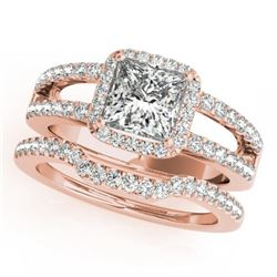 1.51 CTW Certified VS/SI Princess Diamond 2Pc Set Solitaire Halo 14K Rose Gold - REF-252K5W - 31347