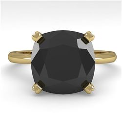 6.0 CTW Cushion Black Diamond Engagement Designer Ring Size 7 18K Yellow Gold - REF-162V2Y - 32461