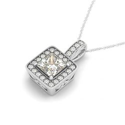 1 CTW Princess Certified VS/SI Diamond Solitaire Halo Necklace 14K White Gold - REF-199A5V - 30016