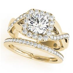 2 CTW Certified VS/SI Diamond 2Pc Wedding Set Solitaire Halo 14K Yellow Gold - REF-413R8K - 30653