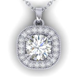 1.02 CTW Certified VS/SI Diamond Stud Micro Halo Necklace 14K White Gold - REF-173Y6X - 30435