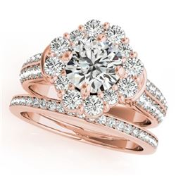 2.38 CTW Certified VS/SI Diamond 2Pc Wedding Set Solitaire Halo 14K Rose Gold - REF-448K4W - 31107