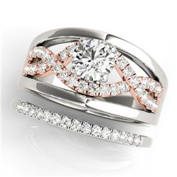 1.29 CTW Certified VS/SI Diamond Solitaire 2Pc Set 14K White & Rose Gold - REF-235R3K - 31946