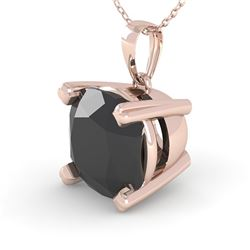 3 CTW Cushion Black Diamond Designer Necklace 18K Rose Gold - REF-89F8N - 32375