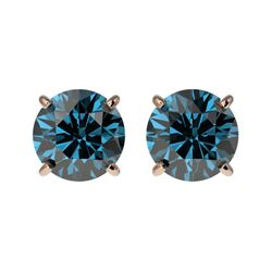 1.50 CTW Certified Intense Blue SI Diamond Solitaire Stud Earrings 10K Rose Gold - REF-127K5W - 3307